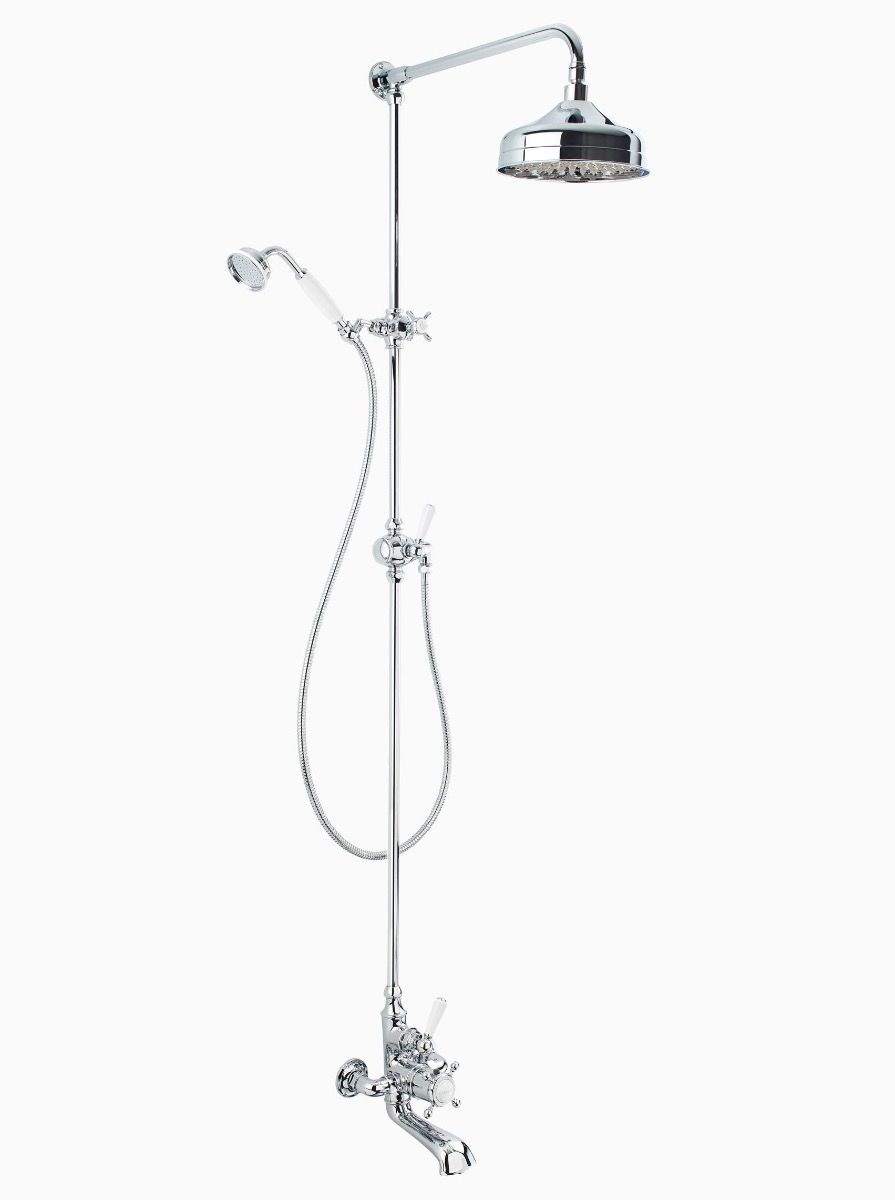 Albany wall mounted bath/shower mixer with fixed riser