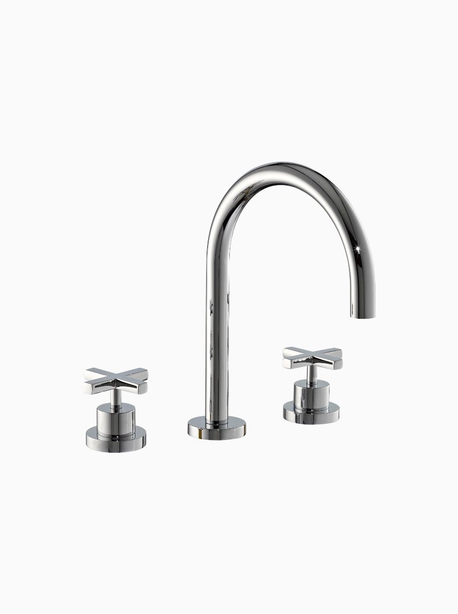 Midtown Deck Mounted 3 Hole Basin Mixer with cross heads