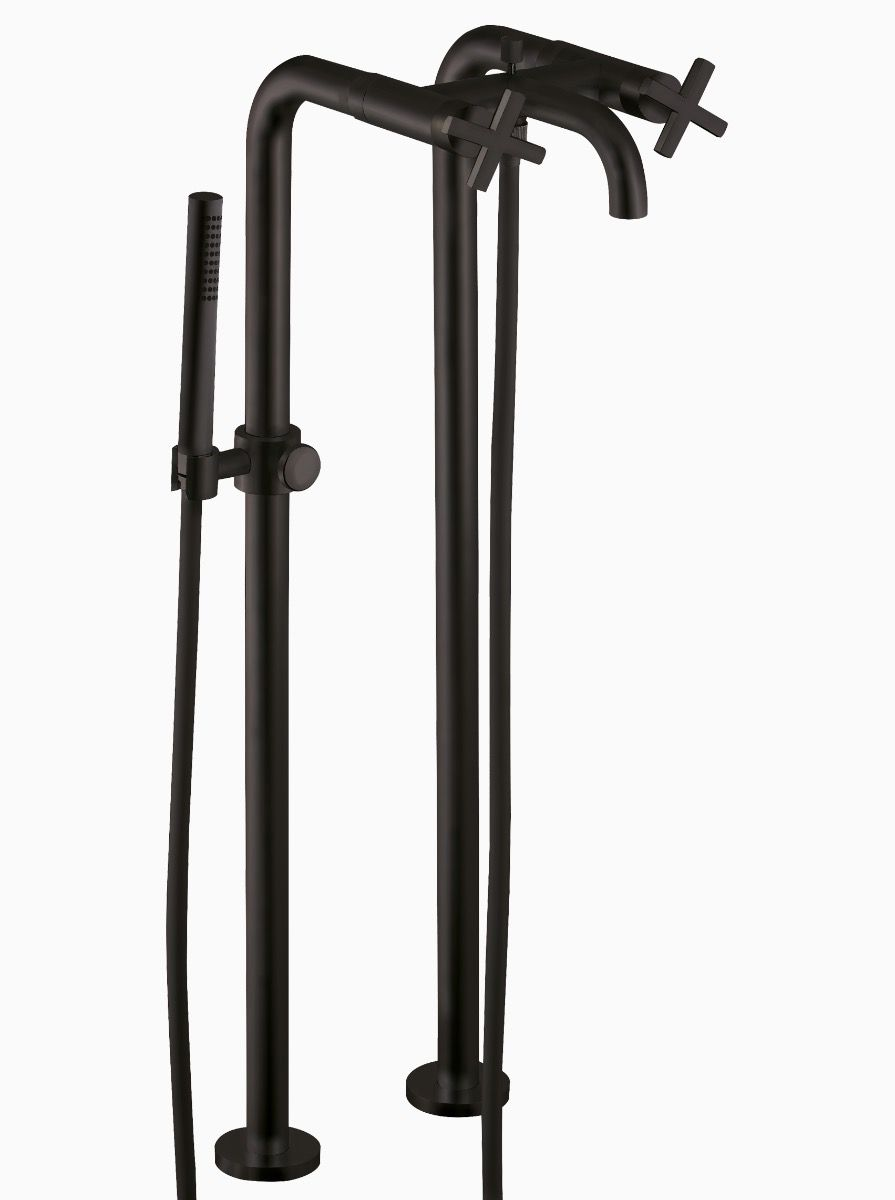 Midtown Floor Mounted Bath Mixer with Hand Held Shower and Stand Pipes