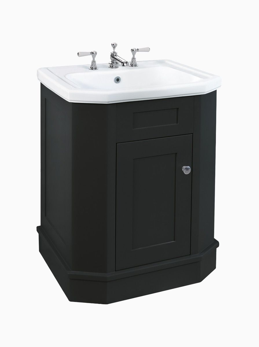 Whitehall Black Cabinet with Basin 70cm