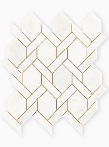 East Haven Lattice Mosaic white grey marble mosaic floor and wall tile