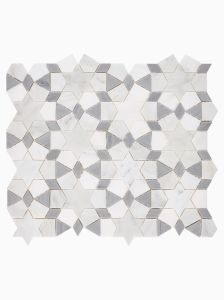 Haven Mosaics Cove White Grey Marble Stone Wall and Floor Tile