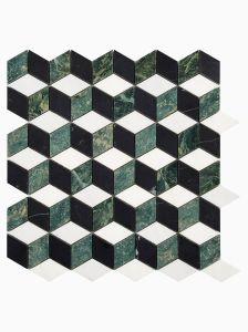 Haven Mosaics Checkers White Green Black Marble Stone Wall and Floor Tile