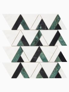 Haven Mosaics Columbus White Green Black Marble Stone Wall and Floor Tile
