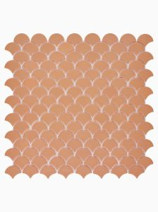 Xanadu Terracotta Fan Glass Mosaic Wall Tile