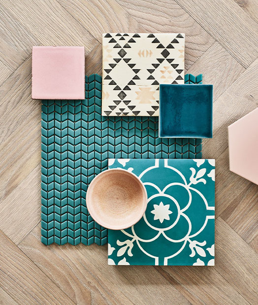 Tile and Wood Flatlay